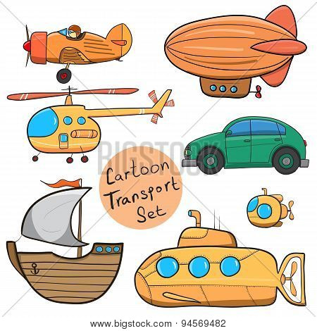 Collection Of Various Funny Hand-drawn Transports - Vector Illustration.