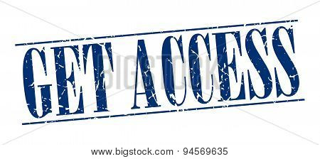 Get Access Blue Grunge Vintage Stamp Isolated On White Background