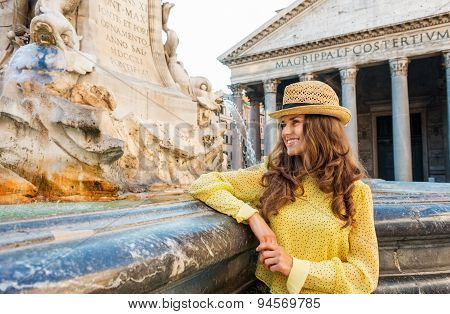 Happy Woman Tourist Standing By The Pantheon Fountain In Rome