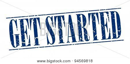 Get Started Blue Grunge Vintage Stamp Isolated On White Background