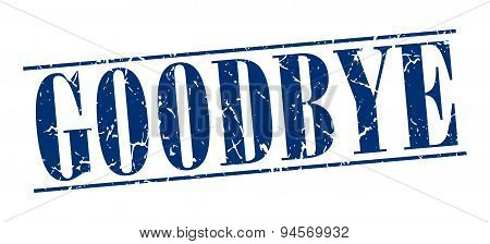 Goodbye Blue Grunge Vintage Stamp Isolated On White Background