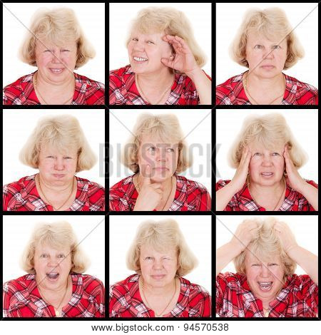set of emotions adult woman