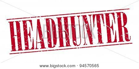Headhunter Red Grunge Vintage Stamp Isolated On White Background