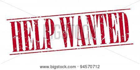 Help Wanted Red Grunge Vintage Stamp Isolated On White Background