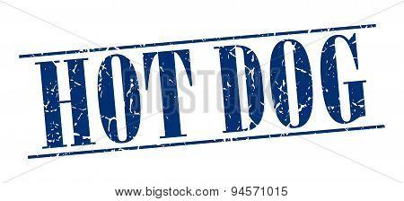 Hot Dog Blue Grunge Vintage Stamp Isolated On White Background