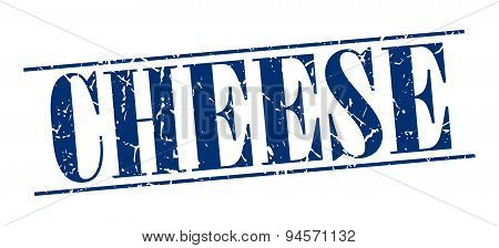 Cheese Blue Grunge Vintage Stamp Isolated On White Background