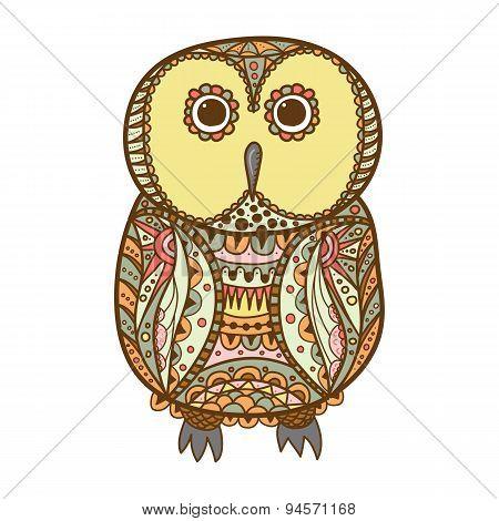 Cute Decorative Ornamental Color Owl, Vector Illustration