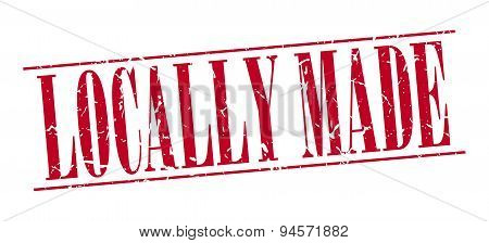 Locally Made Red Grunge Vintage Stamp Isolated On White Background