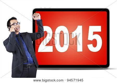 Successful Man With Cellphone And Numbers 2015