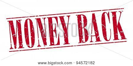 Money Back Red Grunge Vintage Stamp Isolated On White Background