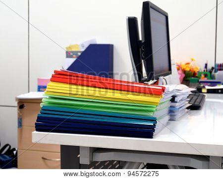 Plastic Ridge Folders On The Table