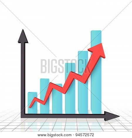 Business graph chart with red rising arrow