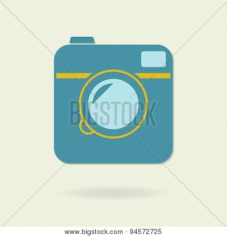 Photo camera icon in retro style. Vector.