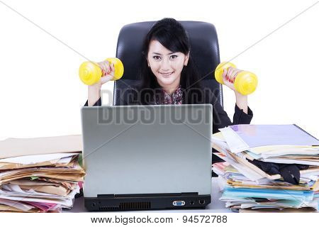 Woman Working And Workout Isolated
