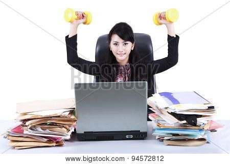 Woman Working And Workout Isolated 1