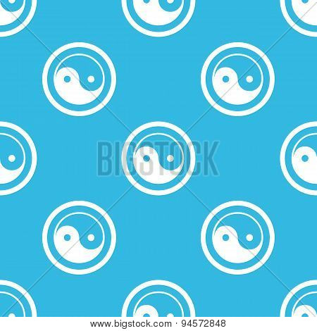 Ying yang sign blue pattern