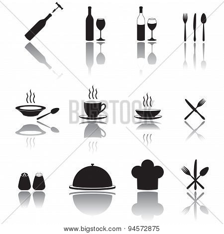 Kitchen and cooking icons set.
