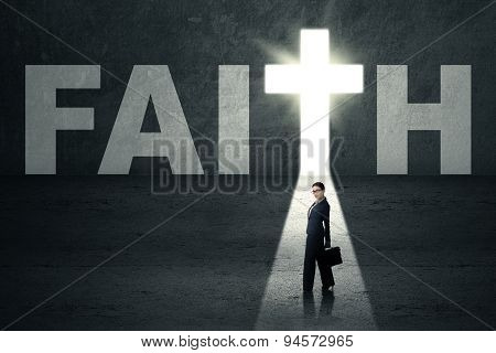 Woman Standing In Faith Door