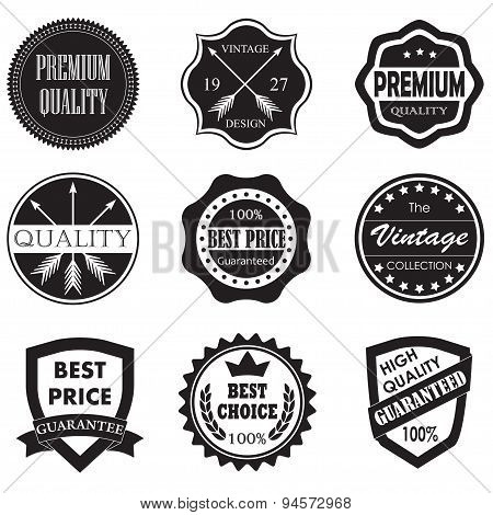 Premium quality, best price badges and labels.