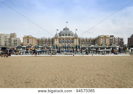The Hague, Netherlands - May 8, 2015: Tourists At Kurhaus Of Scheveningen, The Hague