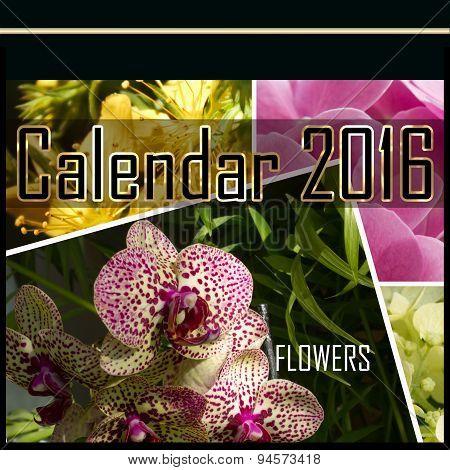 Floral Cover Of Calendar Of 2016 Illustration
