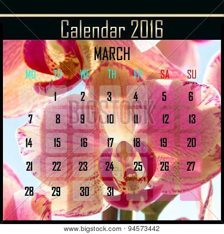 Floral 2016 Calendar Design For March
