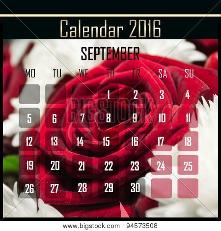 Floral 2016 Calendar Design For September