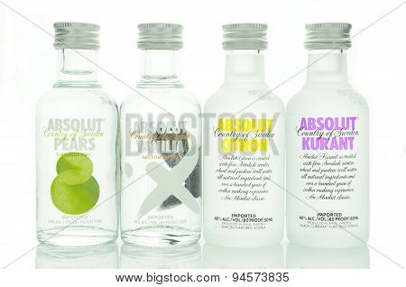 Variety of Absolut flavoured vodka isolated on white background