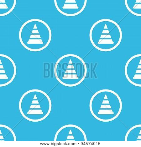 Traffic cone sign blue pattern
