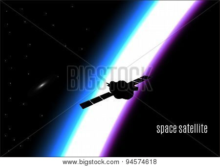 silhouette of a satellite in outer space with sunrise,eps10.