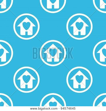 Love house sign blue pattern