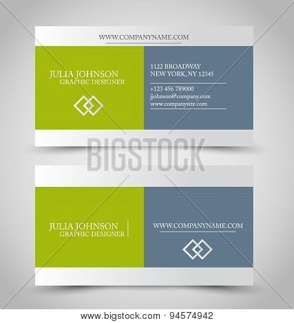 Business card set template. Green and grey color.