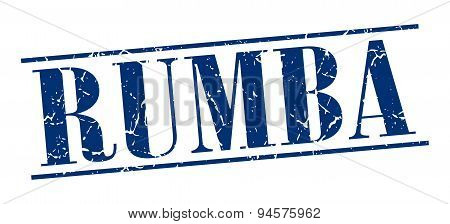 Rumba Blue Grunge Vintage Stamp Isolated On White Background