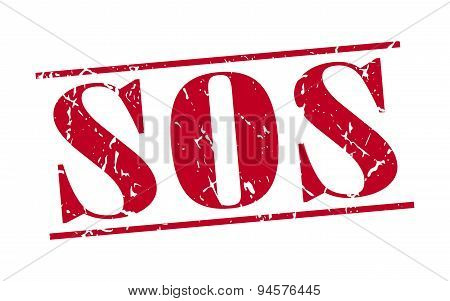 Sos Red Grunge Vintage Stamp Isolated On White Background