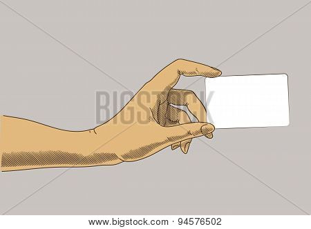 Hand Holding Business, Credit Card. Concept Illustration In Retro Drawing Style