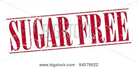 Sugar Free Red Grunge Vintage Stamp Isolated On White Background