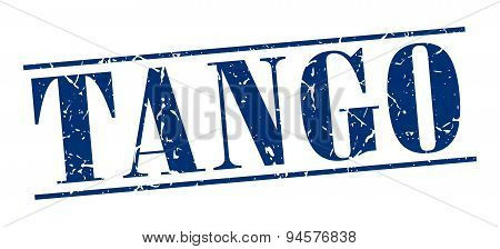 Tango Blue Grunge Vintage Stamp Isolated On White Background
