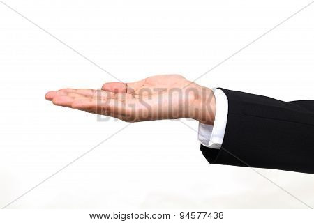 Open Palm Hand Gesture Of Businesswoman Hand On White Background