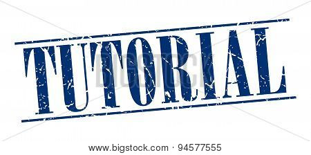 Tutorial Blue Grunge Vintage Stamp Isolated On White Background