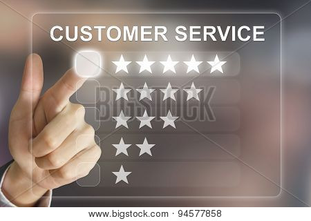 Business Hand Pushing Customer Service On Virtual Screen