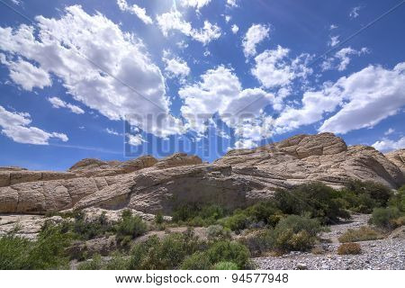 Nevada Rock Formations In Desert