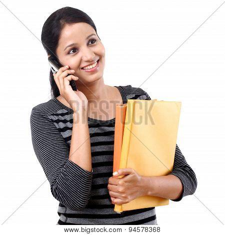 Female Student Talking On Cellphone
