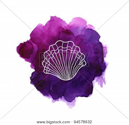 Sea shell on watercolor stain