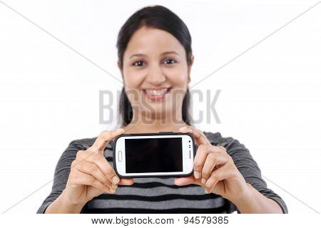 Happy Woman Taking A Selfie