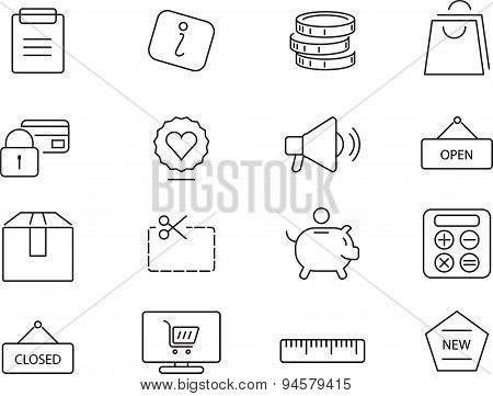Shopping icons set. Simple design.