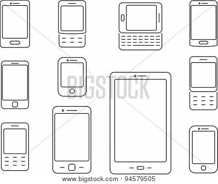 Mobile phones, Cellphones and smartphones icons.
