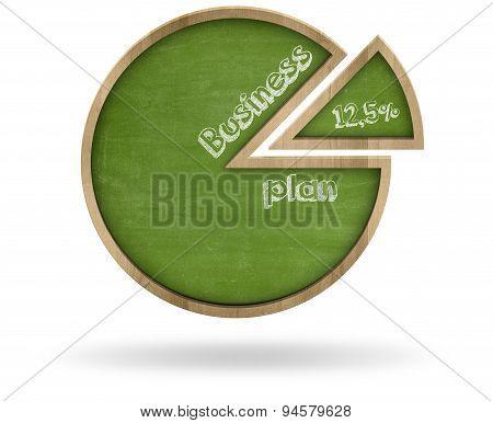 Business plan and pie chart shape blackboard