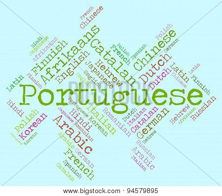 Portuguese Language Shows Communication Vocabulary And Text