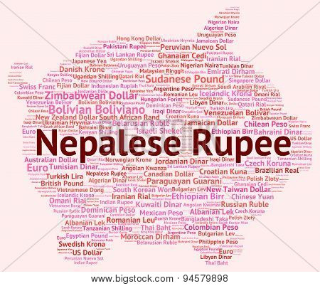 Nepalese Rupee Represents Currency Exchange And Coinage