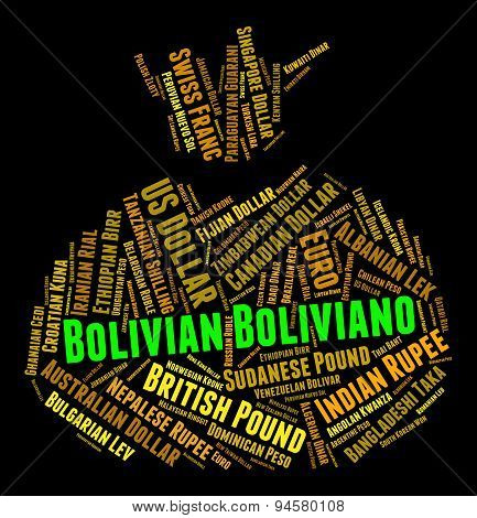 Bolivian Boliviano Indicates Worldwide Trading And Coin